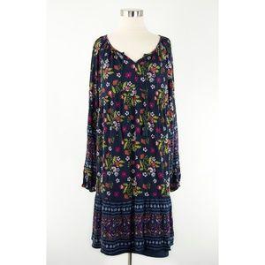 Time & Tru Indigo Floral Print Boho Dress L